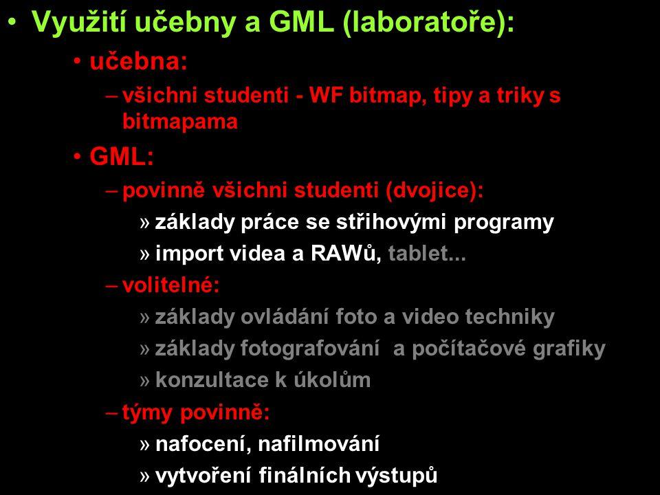 Využití učebny a GML (laboratoře):