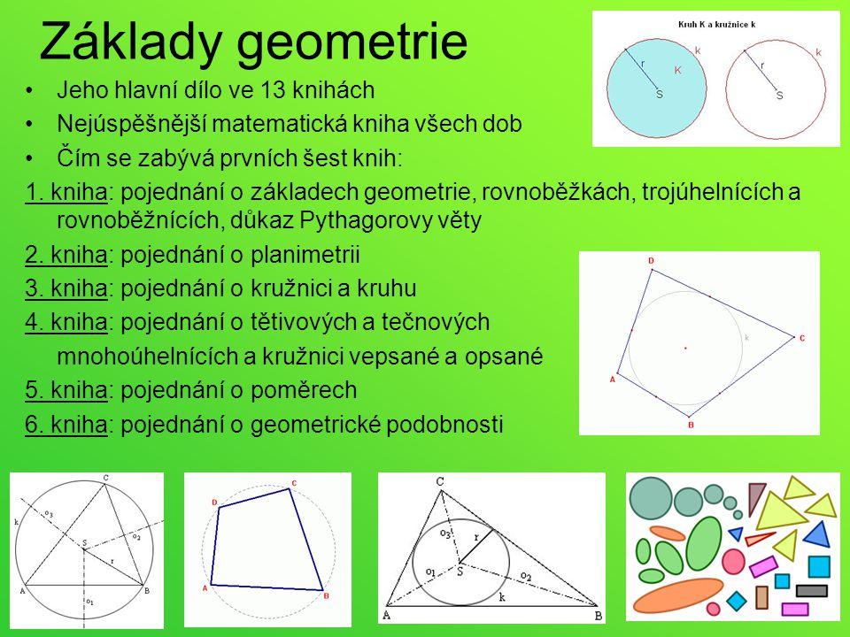 Základy geometrie Jeho hlavní dílo ve 13 knihách