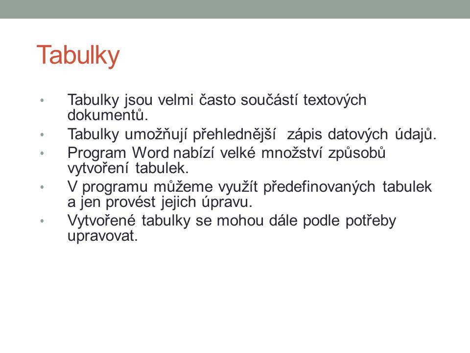 Tabulky Tabulky jsou velmi často součástí textových dokumentů.