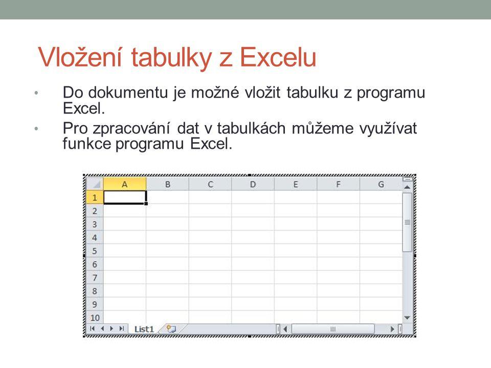 Vložení tabulky z Excelu