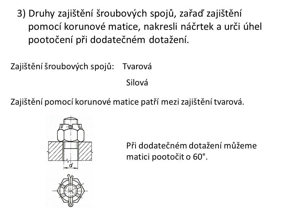 3) Druhy zajištění šroubových spojů, zařaď zajištění pomocí korunové matice, nakresli náčrtek a urči úhel pootočení při dodatečném dotažení.
