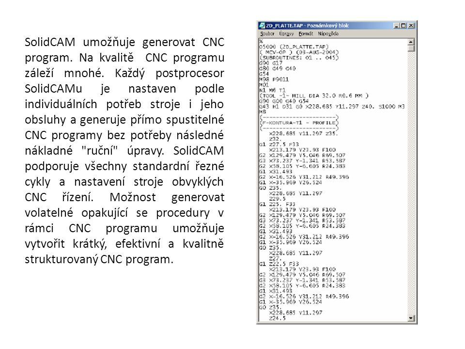 SolidCAM umožňuje generovat CNC program