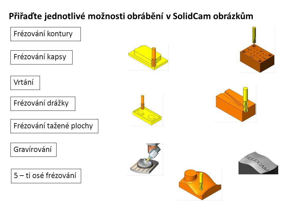 Přiřaďte jednotlivé možnosti obrábění v SolidCam obrázkům