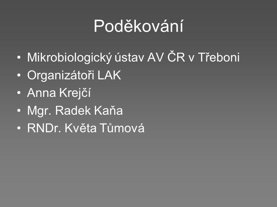 Poděkování Mikrobiologický ústav AV ČR v Třeboni Organizátoři LAK