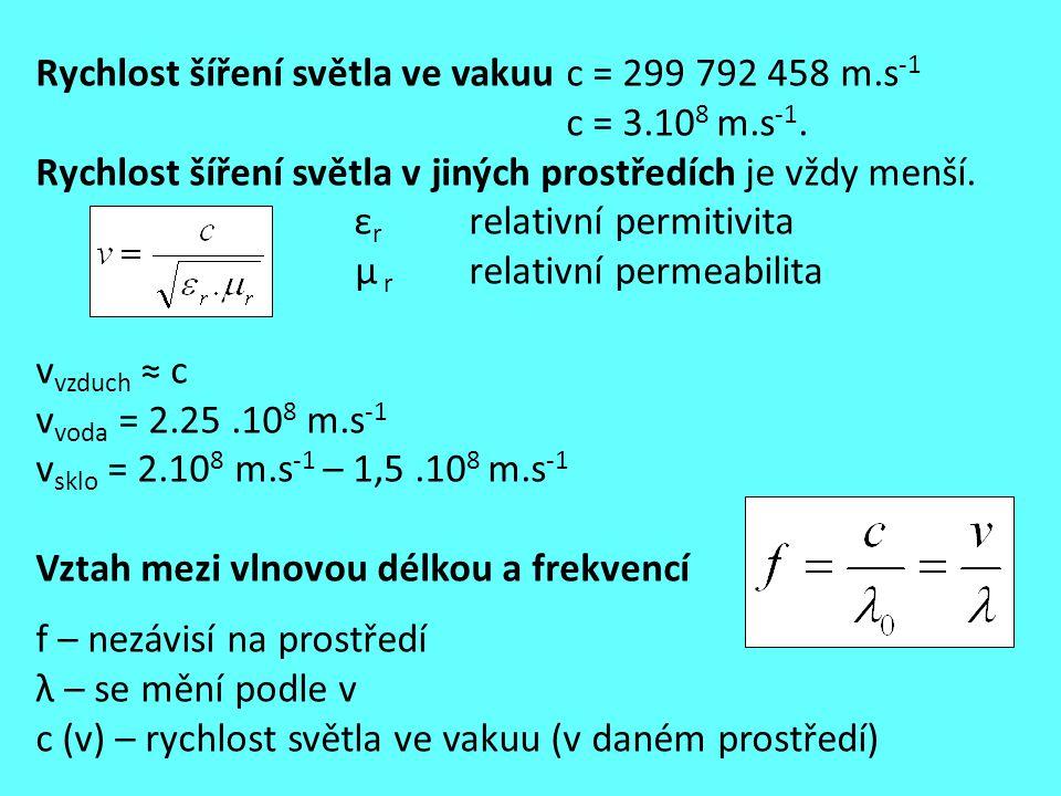 Rychlost šíření světla ve vakuu c = 299 792 458 m.s-1