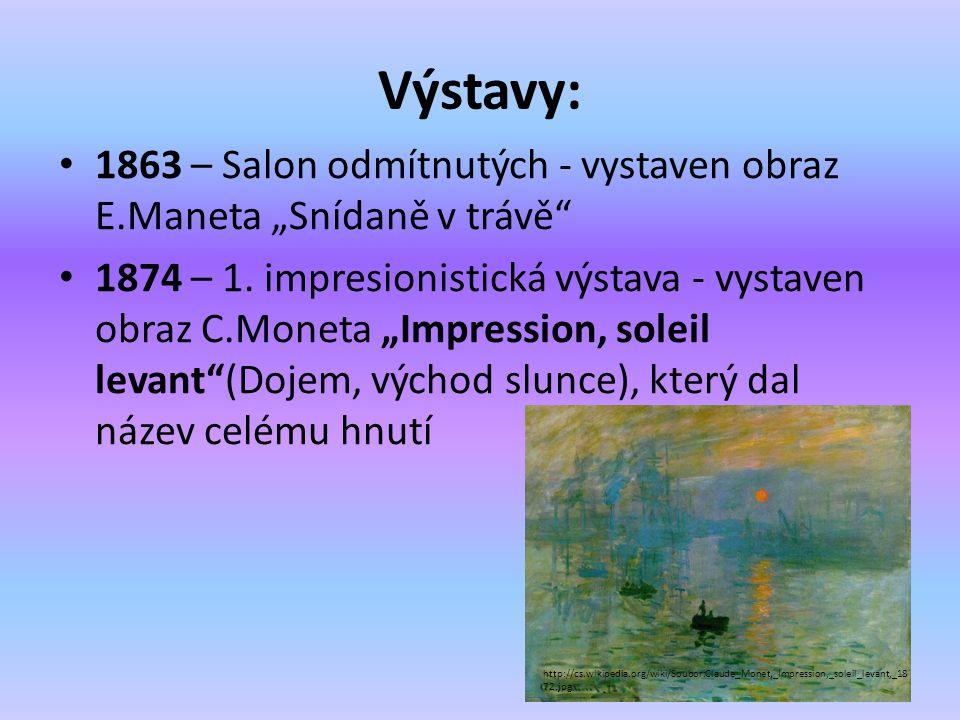 """Výstavy: 1863 – Salon odmítnutých - vystaven obraz E.Maneta """"Snídaně v trávě"""