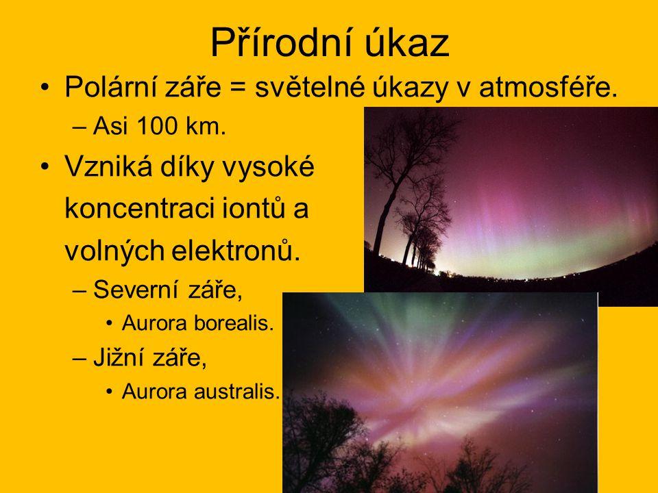 Přírodní úkaz Polární záře = světelné úkazy v atmosféře.