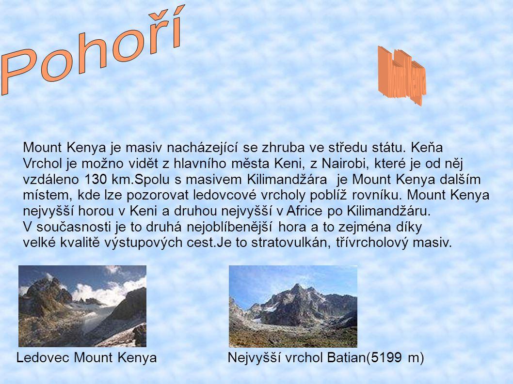 Pohoří Mount Kenya. Mount Kenya je masiv nacházející se zhruba ve středu státu. Keňa.