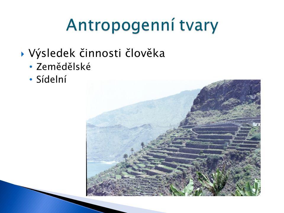 Antropogenní tvary Výsledek činnosti člověka Zemědělské Sídelní