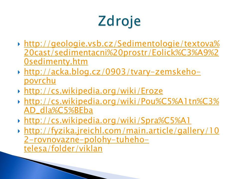 Zdroje http://geologie.vsb.cz/Sedimentologie/textova% 20cast/sedimentacni%20prostr/Eolick%C3%A9%2 0sedimenty.htm.