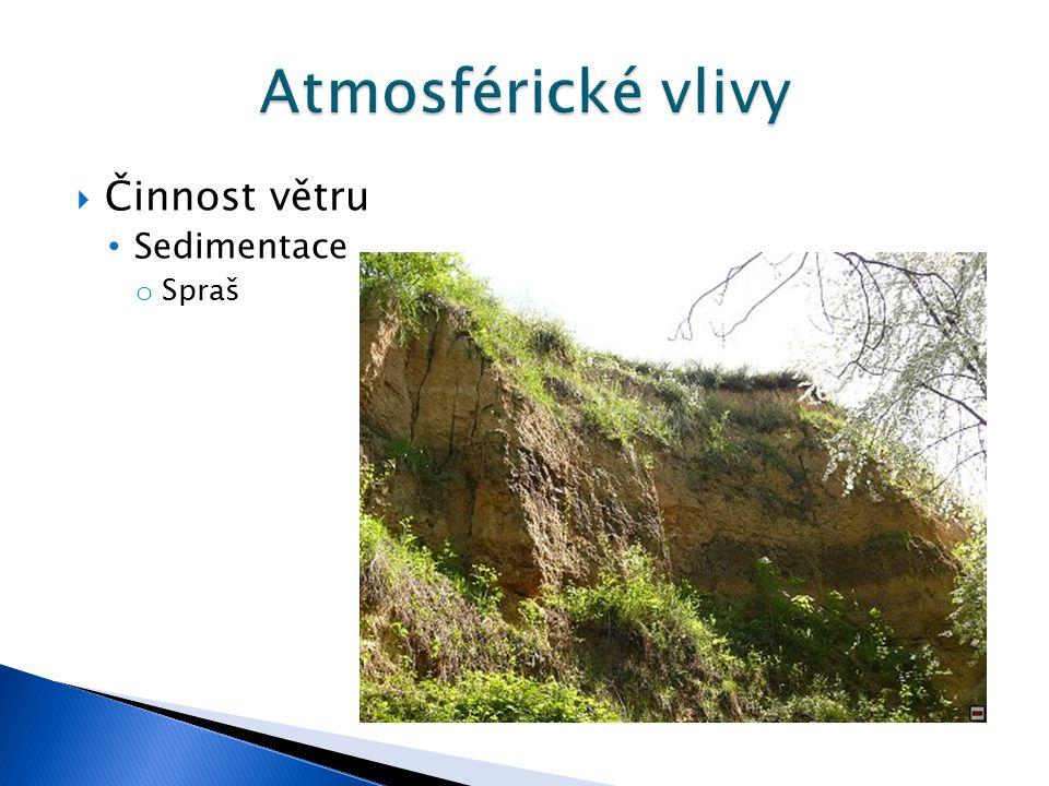 Atmosférické vlivy Činnost větru Sedimentace Spraš