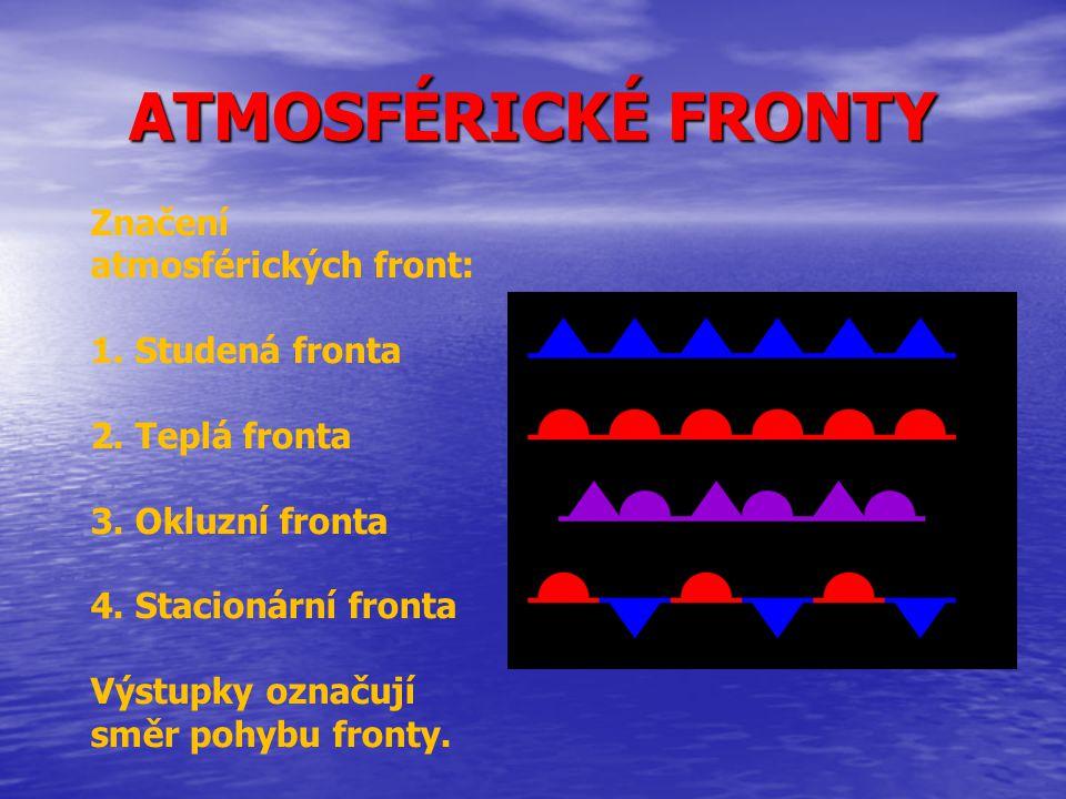 ATMOSFÉRICKÉ FRONTY Značení atmosférických front: 1. Studená fronta
