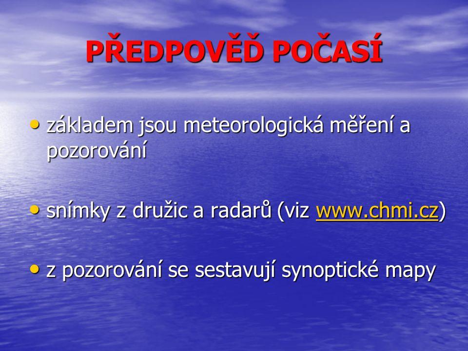 PŘEDPOVĚĎ POČASÍ základem jsou meteorologická měření a pozorování