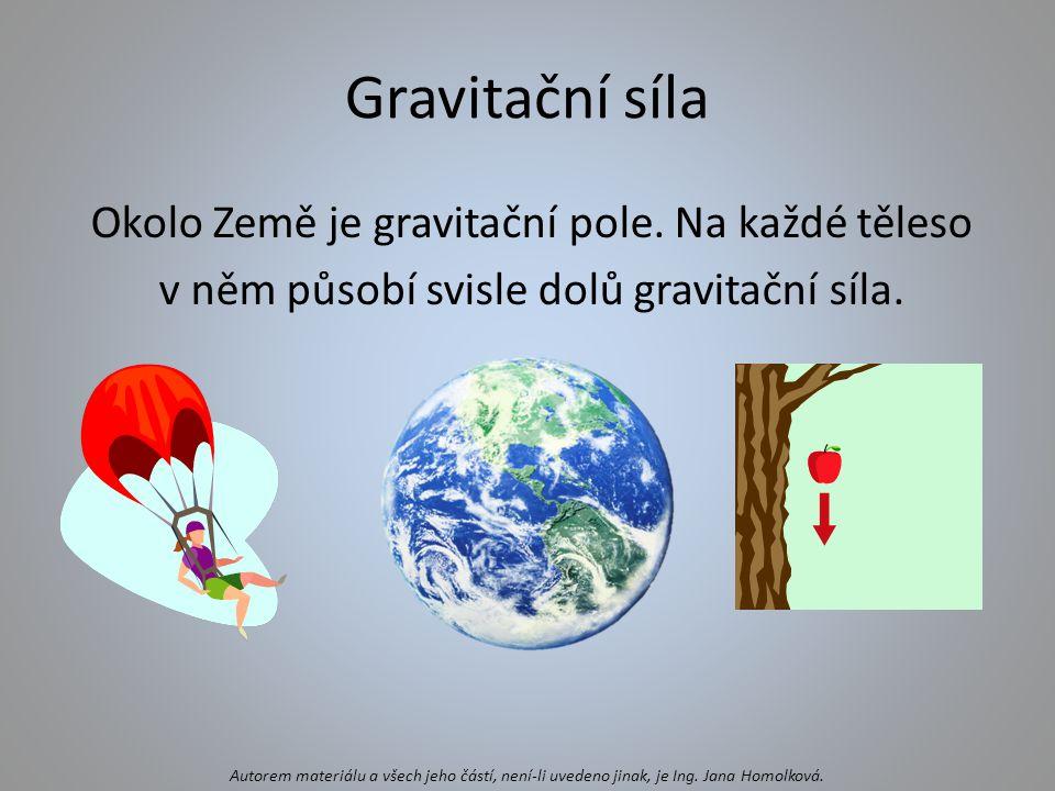 Gravitační síla Okolo Země je gravitační pole. Na každé těleso v něm působí svisle dolů gravitační síla.
