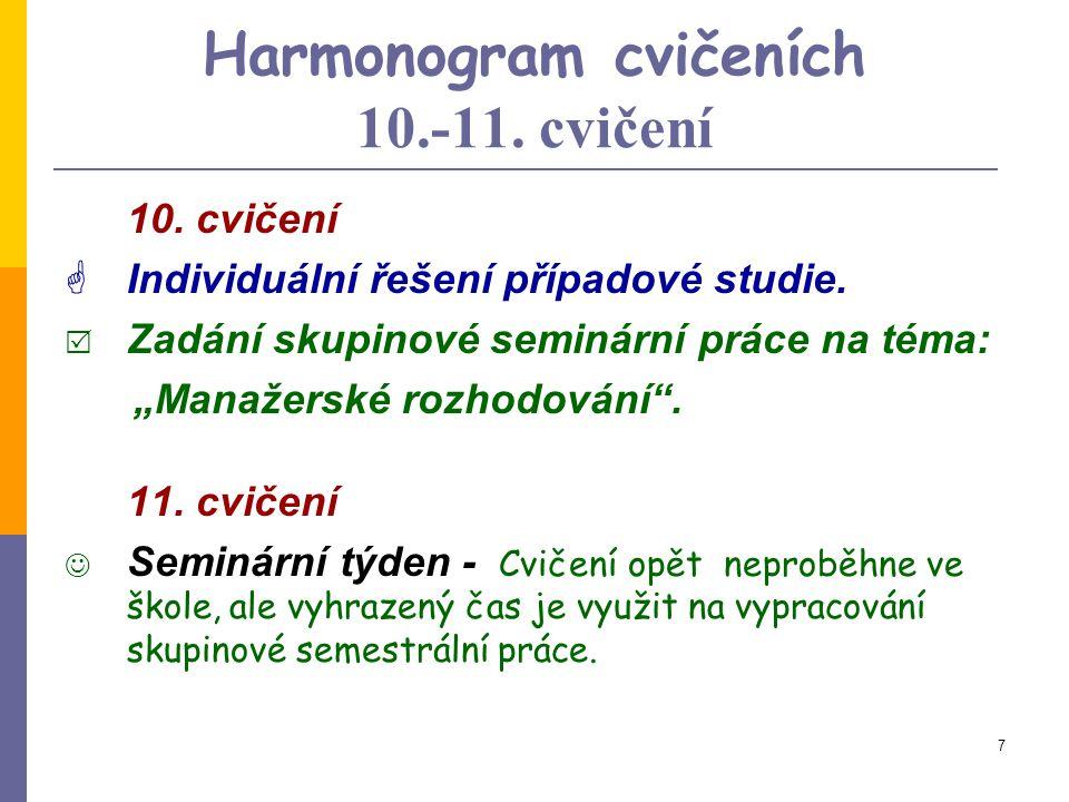 Harmonogram cvičeních 10.-11. cvičení