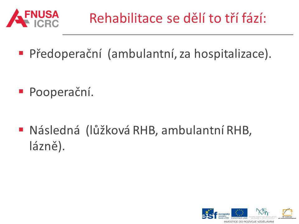 Rehabilitace se dělí to tří fází: