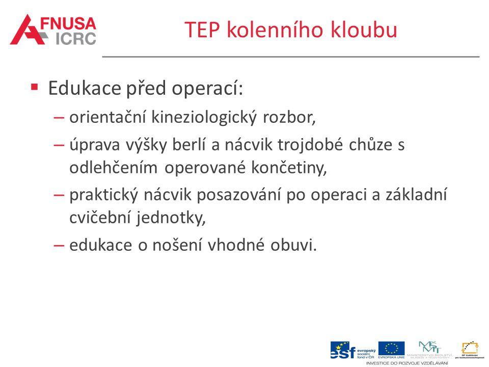 TEP kolenního kloubu Edukace před operací: