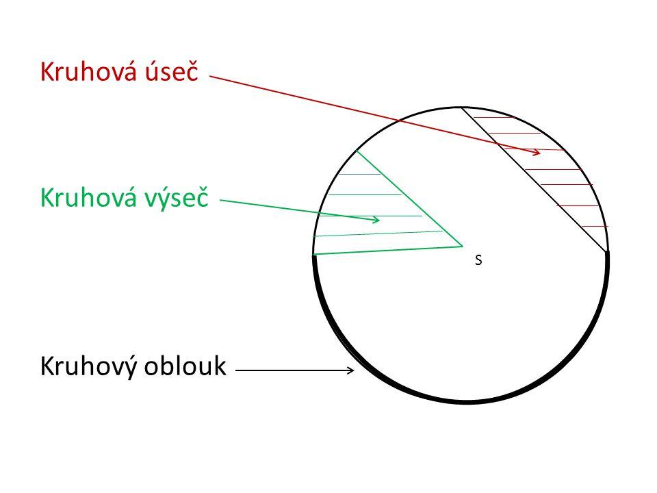 Kruhová úseč Kruhová výseč Kruhový oblouk