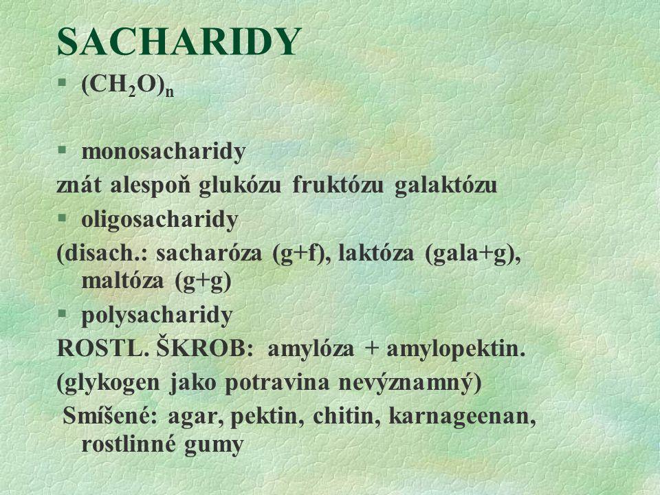 SACHARIDY (CH2O)n monosacharidy