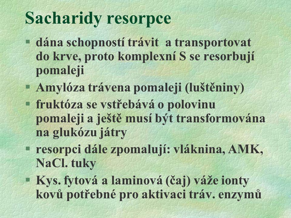 Sacharidy resorpce dána schopností trávit a transportovat do krve, proto komplexní S se resorbují pomaleji.