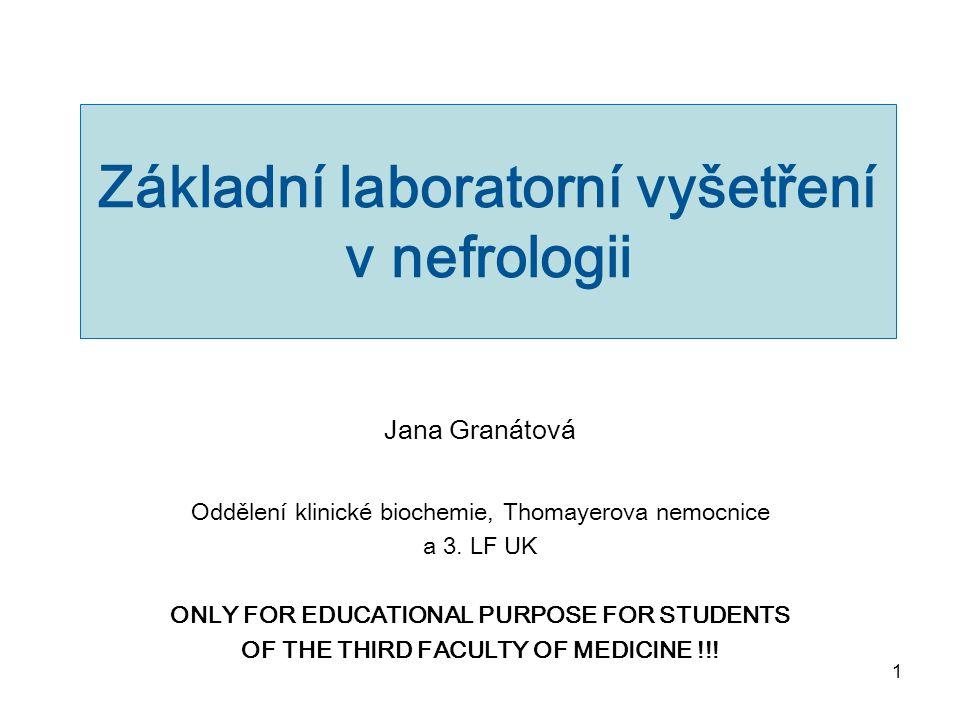 Základní laboratorní vyšetření v nefrologii
