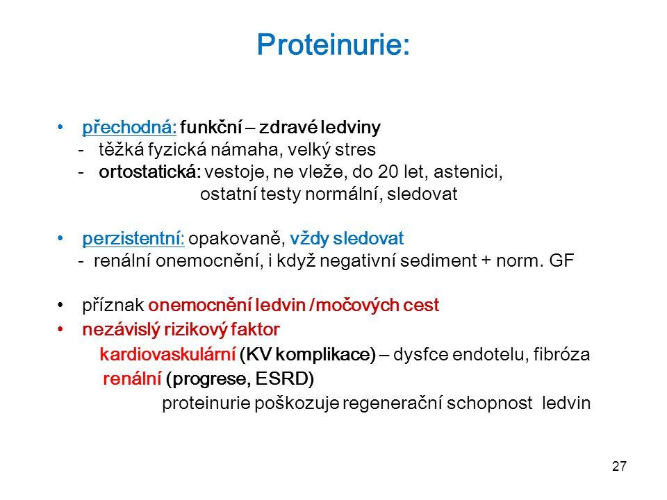 Proteinurie: přechodná: funkční – zdravé ledviny