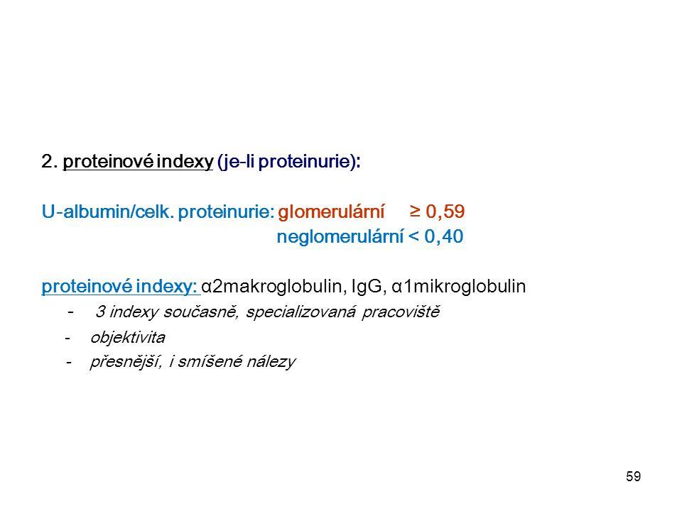 2. proteinové indexy (je-li proteinurie):