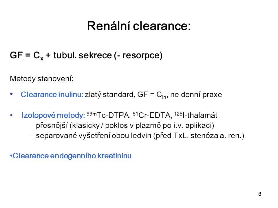 Renální clearance: GF = Cx + tubul. sekrece (- resorpce)