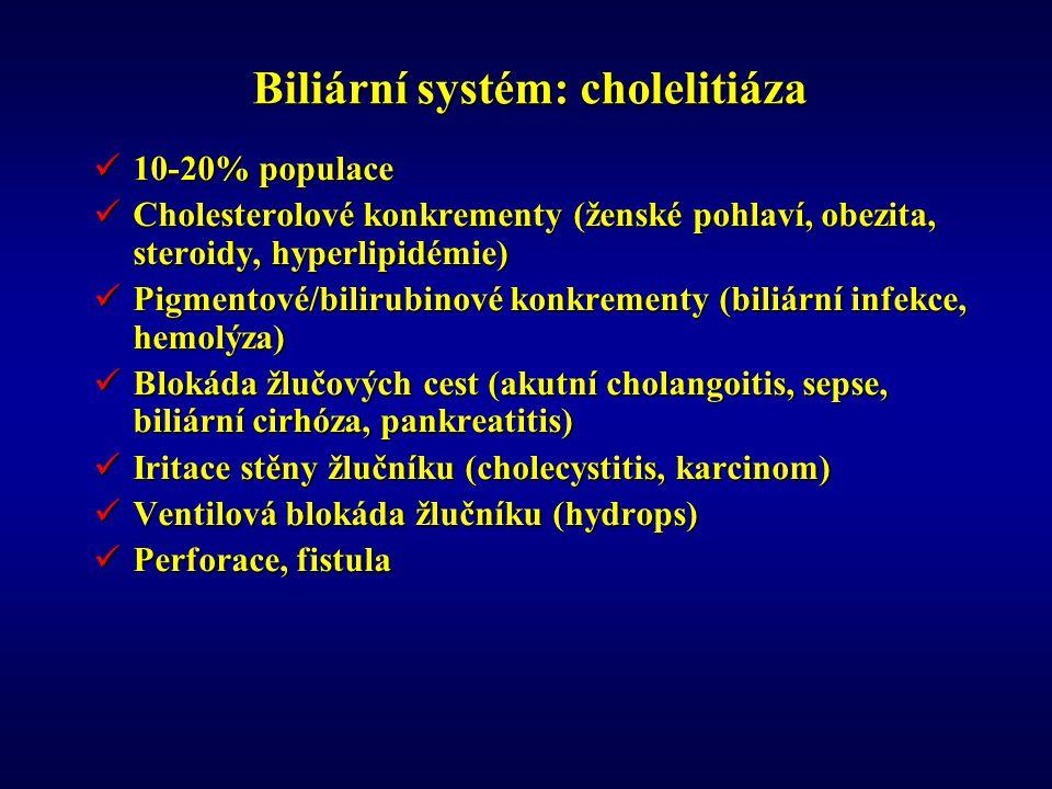 Biliární systém: cholelitiáza