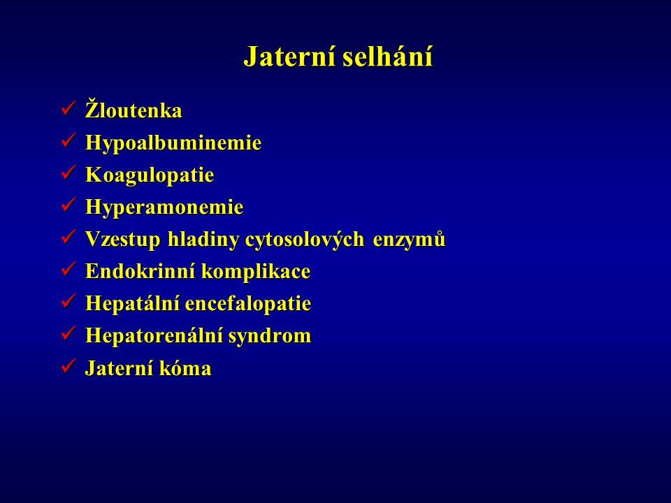 Jaterní selhání Žloutenka Hypoalbuminemie Koagulopatie Hyperamonemie