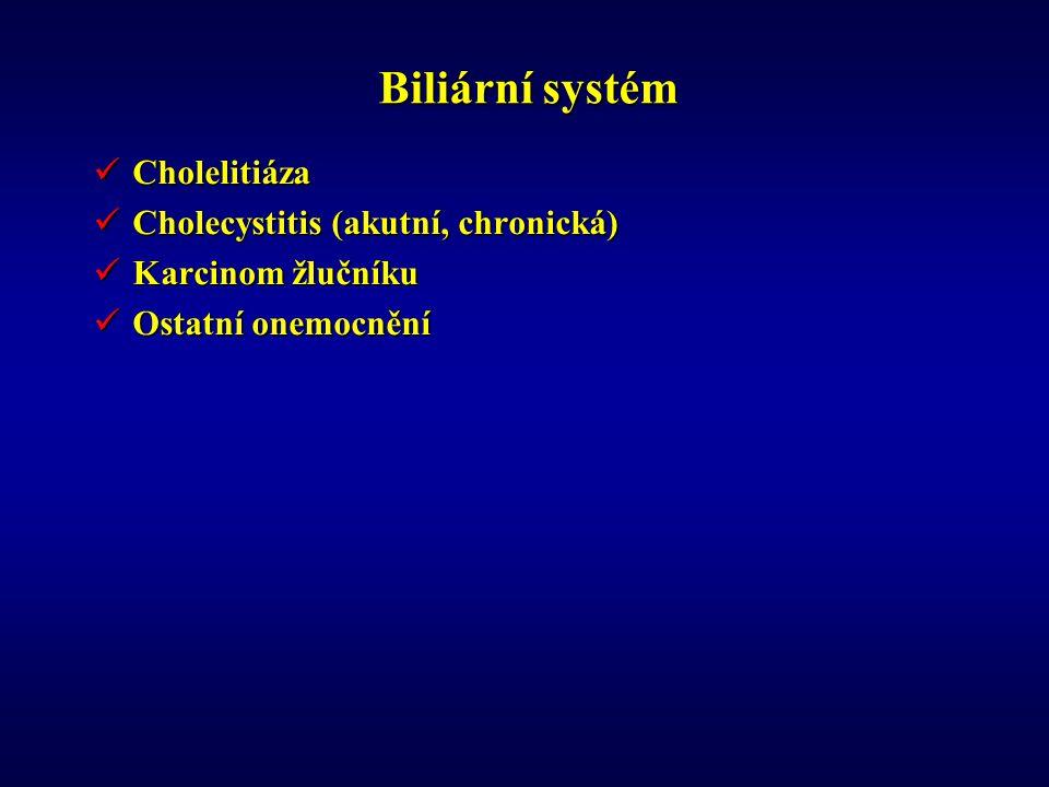 Biliární systém Cholelitiáza Cholecystitis (akutní, chronická)