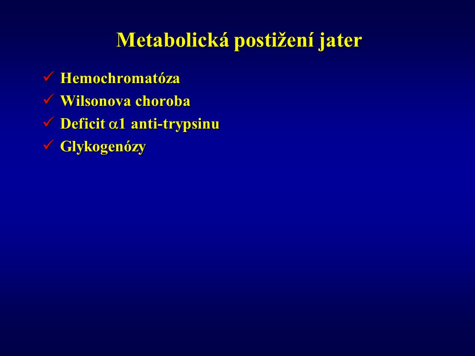 Metabolická postižení jater