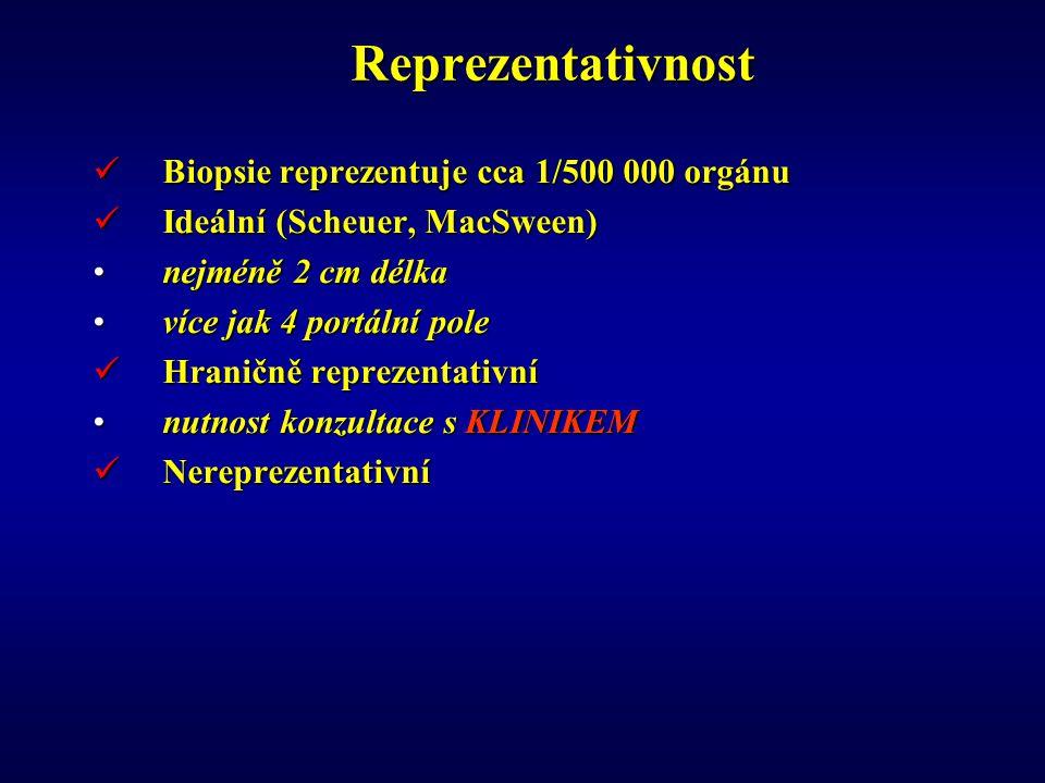 Reprezentativnost Biopsie reprezentuje cca 1/500 000 orgánu