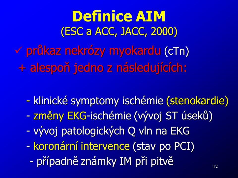 Definice AIM (ESC a ACC, JACC, 2000)