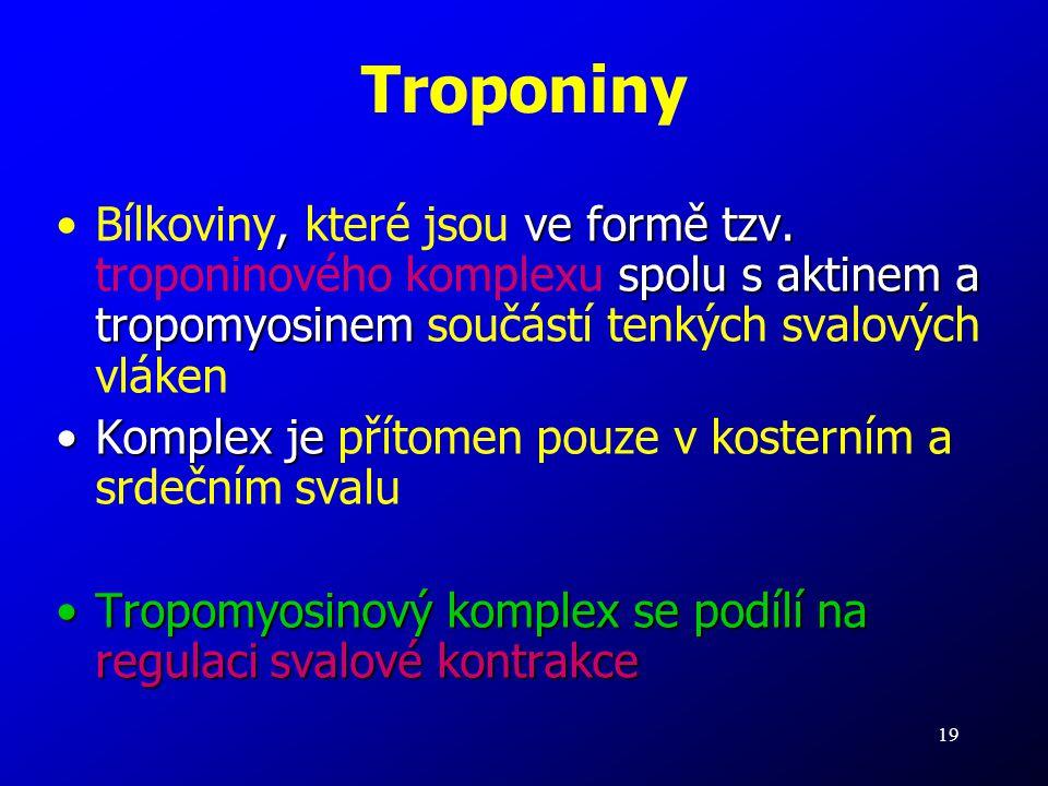 Troponiny Bílkoviny, které jsou ve formě tzv. troponinového komplexu spolu s aktinem a tropomyosinem součástí tenkých svalových vláken.