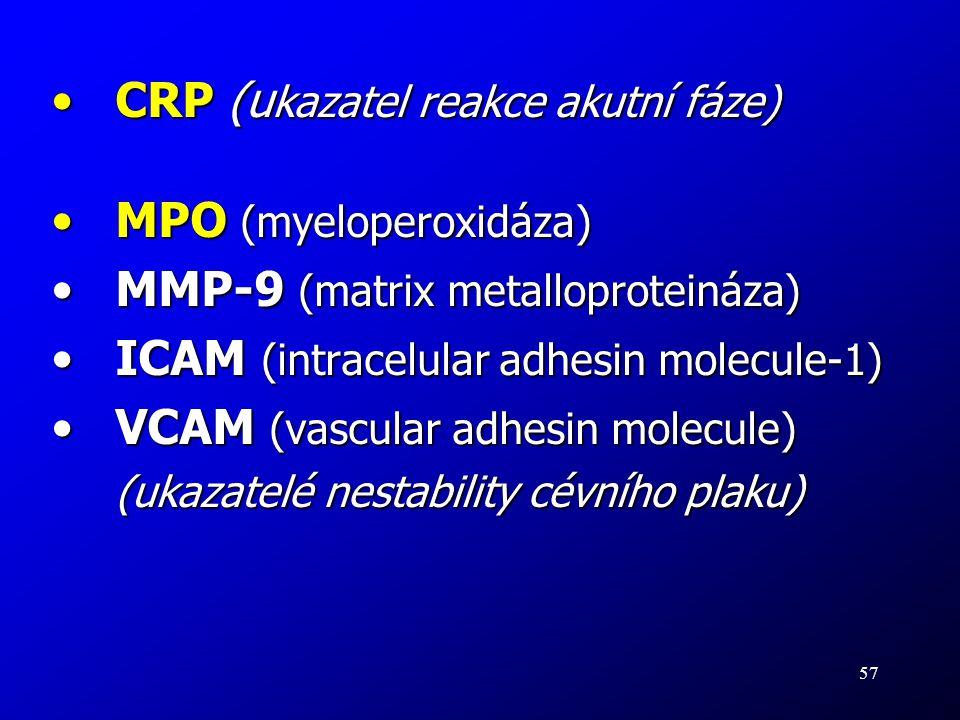 CRP (ukazatel reakce akutní fáze) MPO (myeloperoxidáza)