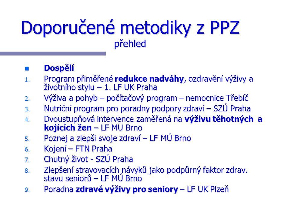 Doporučené metodiky z PPZ přehled