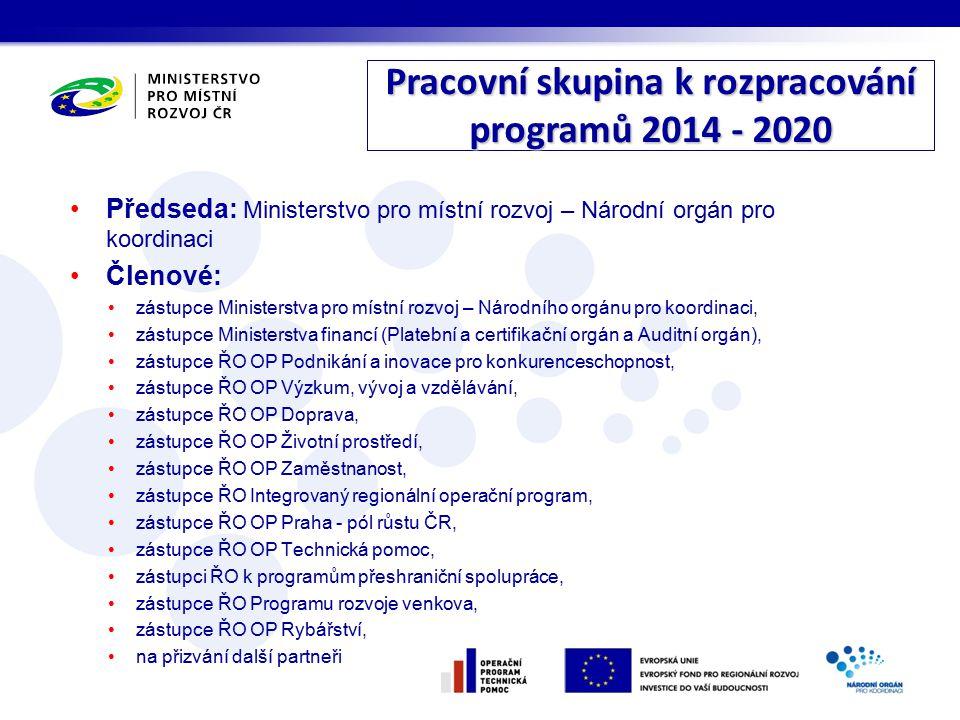 Pracovní skupina k rozpracování programů 2014 - 2020