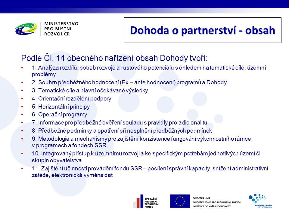 Dohoda o partnerství - obsah