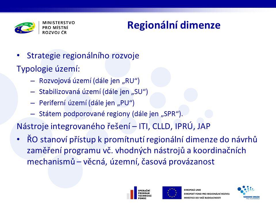 Regionální dimenze Strategie regionálního rozvoje Typologie území: