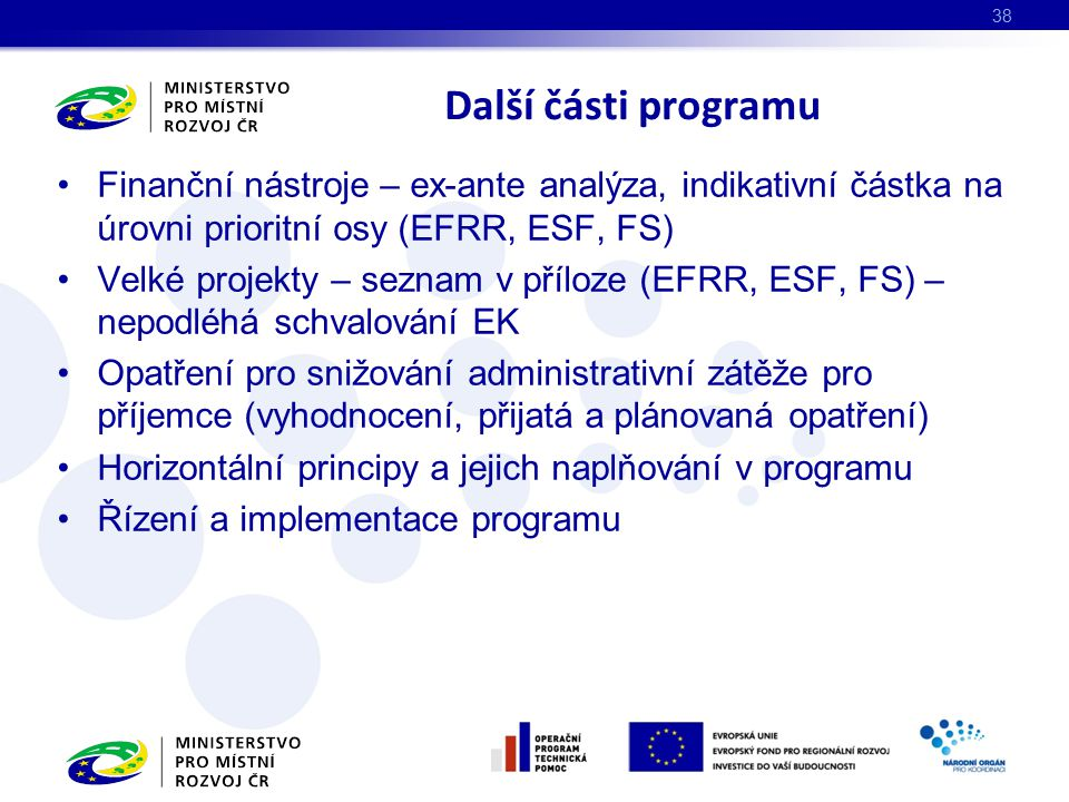 Další části programu Finanční nástroje – ex-ante analýza, indikativní částka na úrovni prioritní osy (EFRR, ESF, FS)
