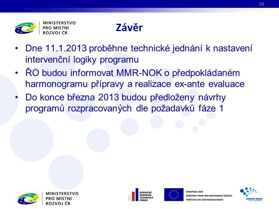 Závěr Dne 11.1.2013 proběhne technické jednání k nastavení intervenční logiky programu.