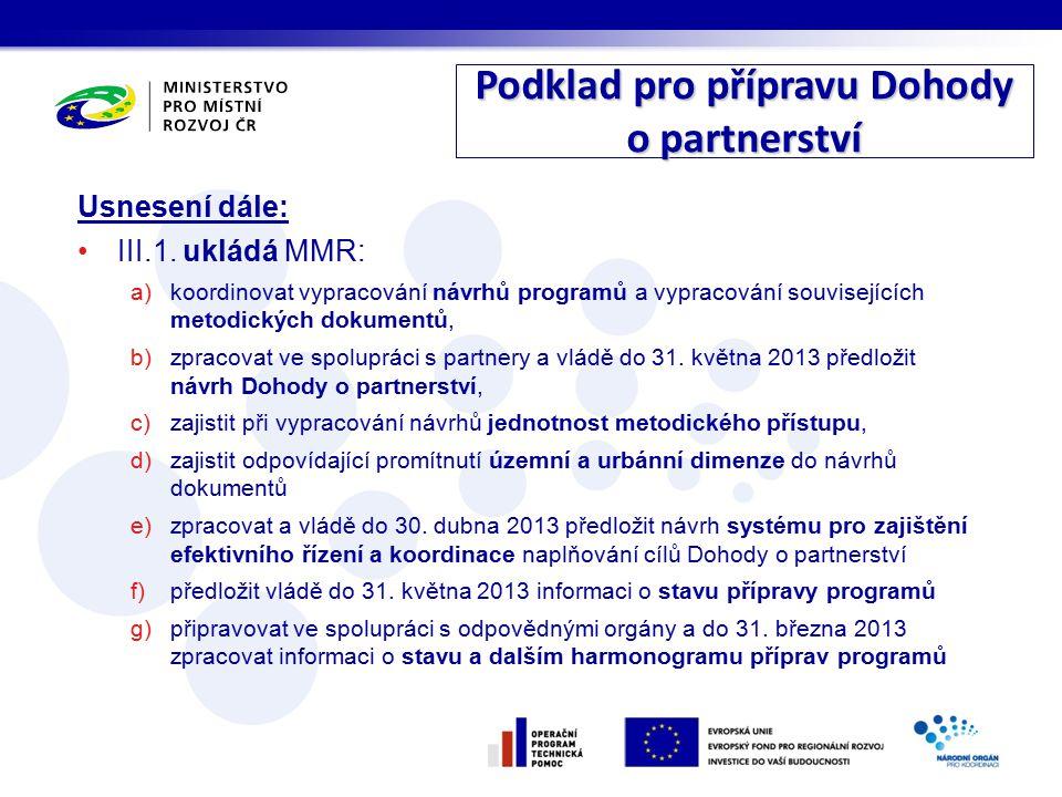 Podklad pro přípravu Dohody o partnerství