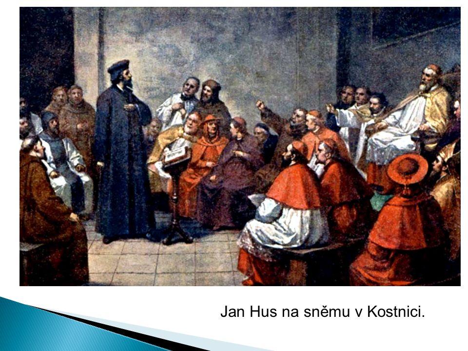 Jan Hus na sněmu v Kostnici.