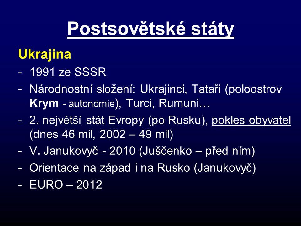 Postsovětské státy Ukrajina 1991 ze SSSR