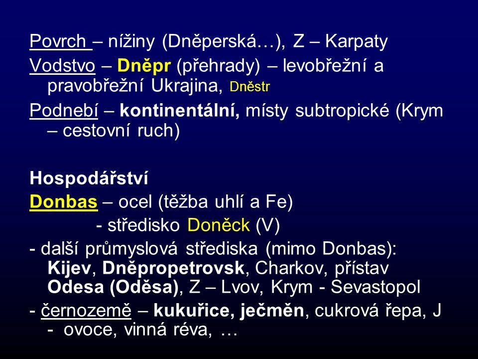 Povrch – nížiny (Dněperská…), Z – Karpaty