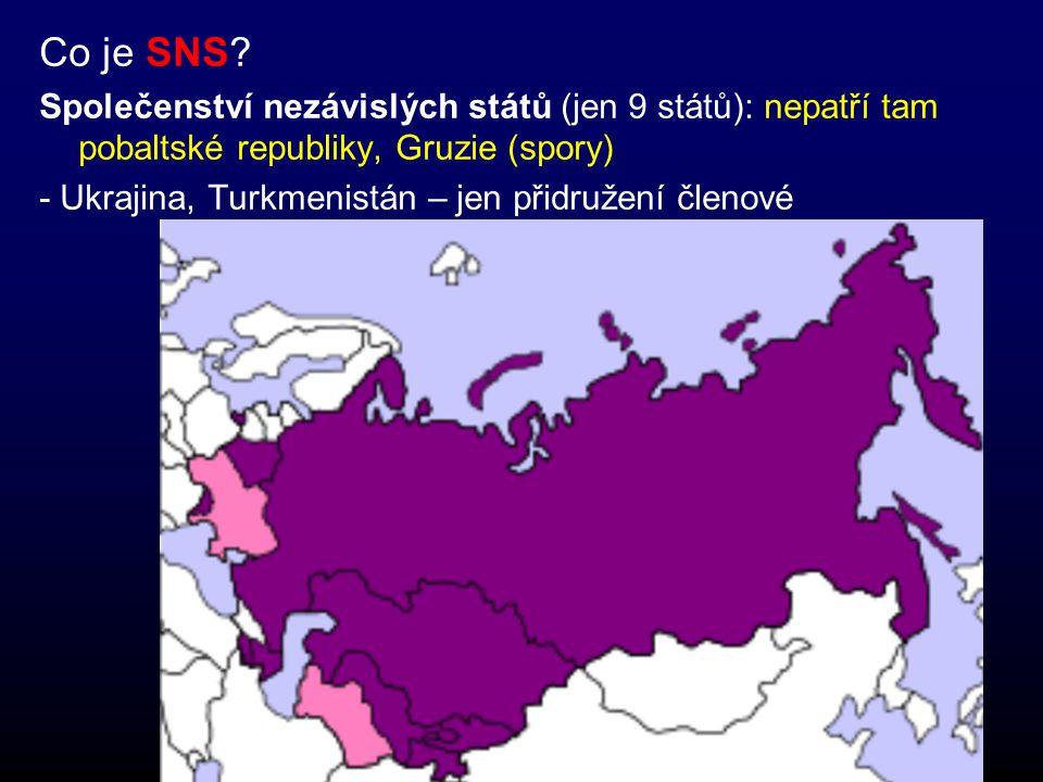 Co je SNS Společenství nezávislých států (jen 9 států): nepatří tam pobaltské republiky, Gruzie (spory)