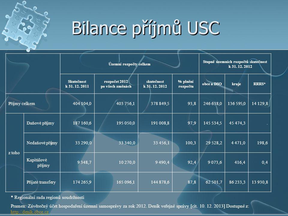 Bilance příjmů USC * Regionální rada regionů soudržnosti