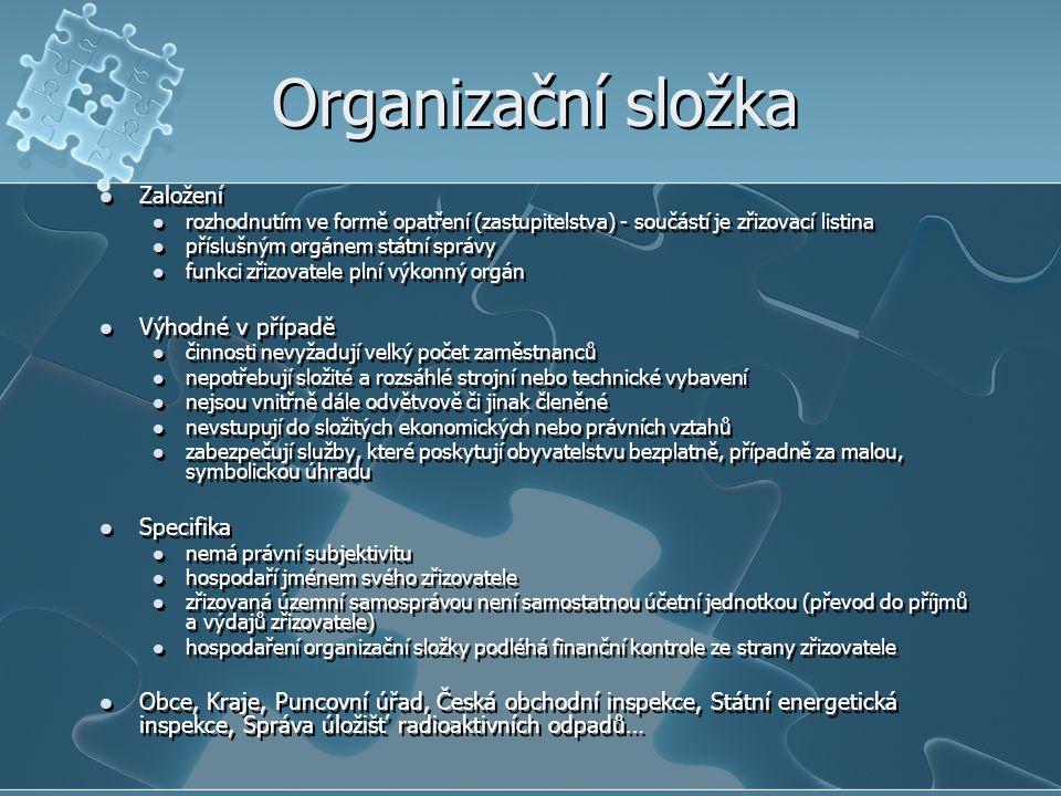 Organizační složka Založení Výhodné v případě Specifika