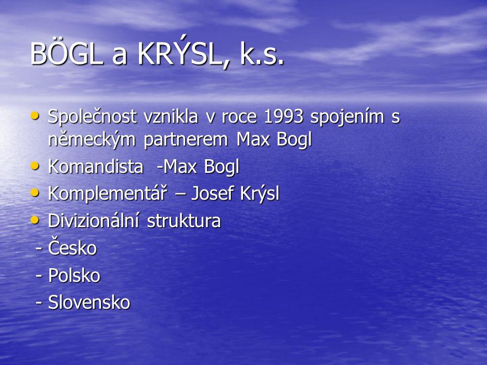 BÖGL a KRÝSL, k.s. Společnost vznikla v roce 1993 spojením s německým partnerem Max Bogl. Komandista -Max Bogl.